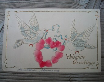 Vintage Valentine, Doves with Hearts