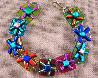 """Dichroic Glass Bracelet - Bright Hippy Flowers Fused Glass - 3/4"""" 2cm - Red Blue Green Gold"""