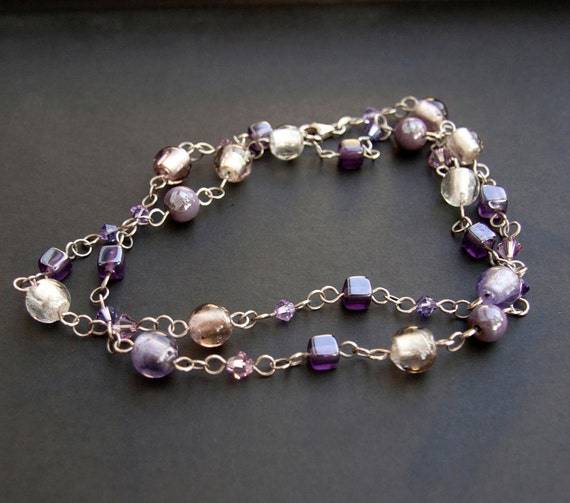 Sterling silver purple beaded necklace. Long beaded sterling silver chain. Purple glass beaded necklace.