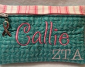 ZTA Zeta Tau Alpha Zipper Pouch Bag Case