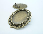 5pcs 30x35mm-18x25mm Antique Bronze Flowers Oval Filigree Cameo Cabochon Base Setting Brooch c2425