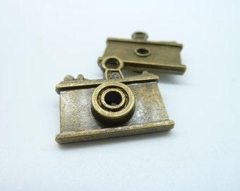 10pcs 6x22x23mm Antique Bronze 3D  Camera Charms Pendant c1389