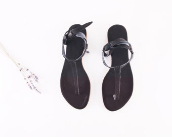 Minimal Black tie up Sandals | Up-cycled soft leather sandals | Black | Ready to Ship