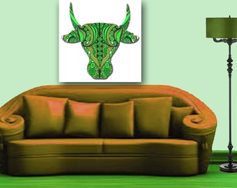 COW SKULL, Cow Art, Artsy Cow, Wall Antlers, Antlers Art, Feminine Antlers, Modern Kitchen Art, Green Kitchen Wall Art, Funky Abstract Cow