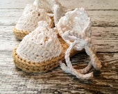 New Item- Baby Espadrille Sandals in Taupe and White Available in 0-6 Months and 6-12 Months- MADE TO ORDER