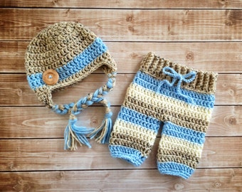 Big Button Beanie in Oatmeal, Baby Blue and Ecru with Matching Pants Available in Newborn to 6 Month Size- MADE TO ORDER