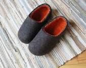 Felt Slippers Men Wool Home Shoes Dark Gray with Orange inside. Made to order.