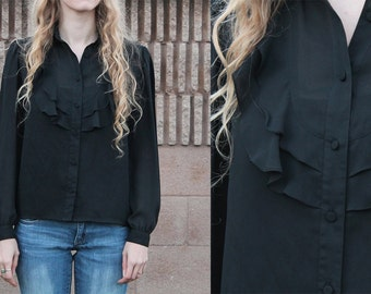Vintage 70s SHEER Gothic Black Frilly Peter Pan Collar Chevron Ruffle Long Sleeve Button up Western Secretary Blouse Shirt - M Med