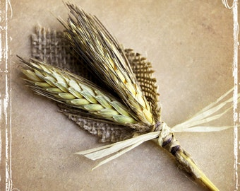 Wheat And Burlap Boutonniere - Rustic Country Weddings - Groom Groomsmen - Spring Summer Fall Winter Autumn - Barn Weddings - Southern Wed
