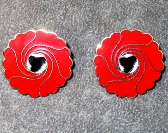 Vintage Red Enamel Floral Earrings, Pierced signed Faulkner Designs