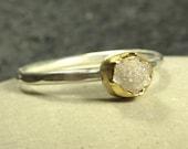Rough Champagne Diamond set in pure 24K Gold