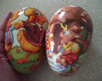 Two Cute Desirable Vintage Easter Candy Containers German Duck Rabbit Toile Lace