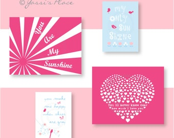 Pink Nursery art, You Are My Sunshine Art, baby girl Nursery Decor, Pink, hot pink nursery, blue nursery, flower art, baby gift YassisPlace