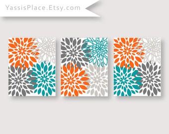 Floral Decor Turquoise Orange Gray Flower Burst Flower Wall Art Bedroom  Artwork Chevron Monogram Prints Bathroom