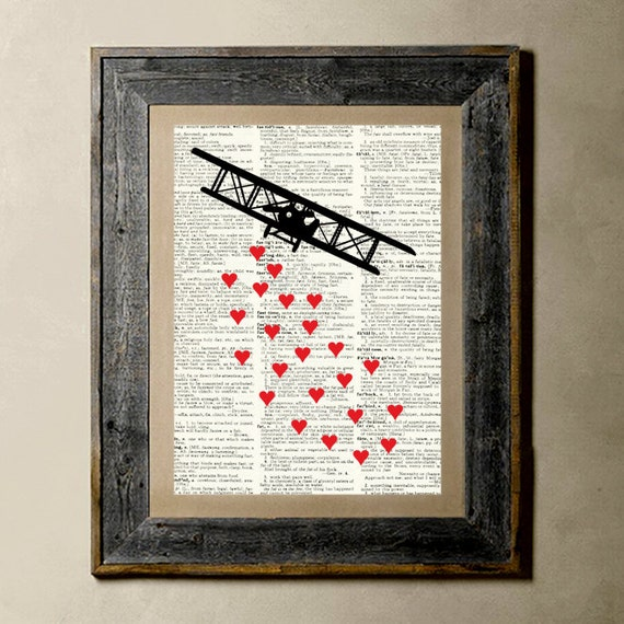 Love in the air - Printed on a Vintage Dictionary, 8X10, dictionary art, paper art, illustration art, collage, wall art, wall decor, love