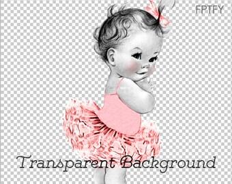 Vintage Baby Ballerina Pink Tutu LARGE PNG Digital Image Download Sheet Transfer To Totes Pillows Tea Towels T-Shirts 253