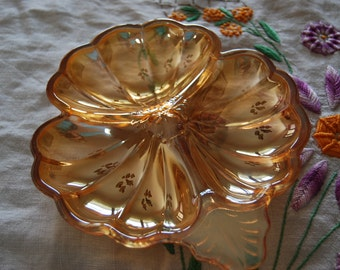 Marigold Carnival Glass Doric Candy Dish