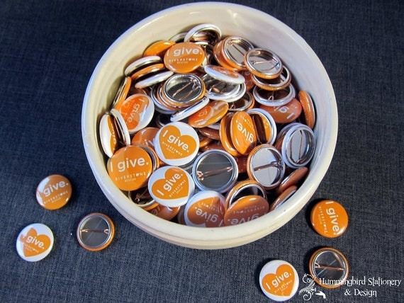 1 Inch Custom Button Pins or Magnets. Set of 50. Wedding Favors. Party Favors. Guest Mementos. Pinback Badges.