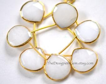 Lovely White Quartz Heart Briolettes with Vermeil Gold Bezel Rim Rimmed Bead 20mm