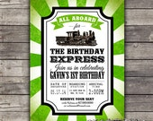 DIY Printable train birthday invitation--customizable