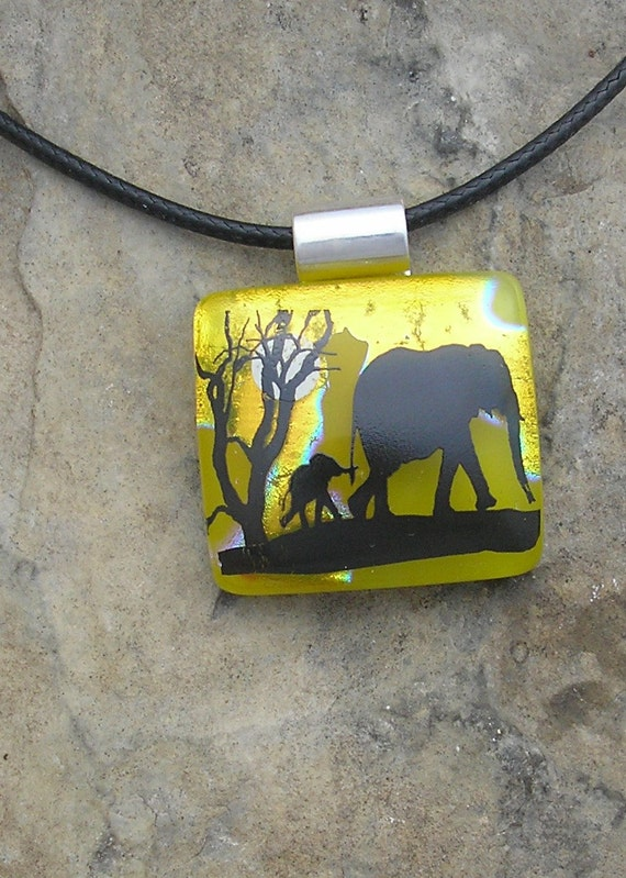 Baby Elephant Necklace Dichroic Fused Glass Jewelry  Elephant Pendant