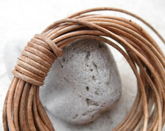 By the Yard - 1.5mm - Round Leather Cord - Natural Dye Light Brown