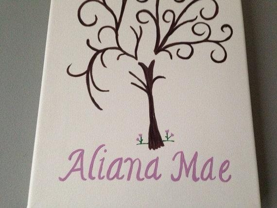 Baby Shower Guest Book alternative fingerprint stamp tree