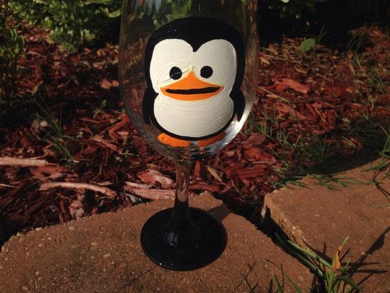 Penguin Wine Glass happy feet tuxedo penguins