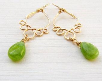 Green drop earrings, Jade drop earrings, Gold drop earrings, Jade earrings, Long dangle earrings, Wrapped earrings, Gold green earrings