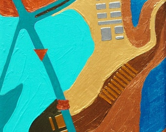 West, mixed-media/acrylic on canvas, map art