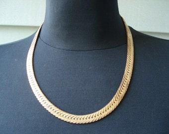 Vintage 1970's Art Deco Wide Gold Serpentine Chain 18 Inch Necklace