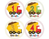 Monthly Baby Stickers, Boys First Year Photo Props, Baby Month Stickers, Baby Announcement, Monthly Photos, Baby Gift, Trucks (B031)