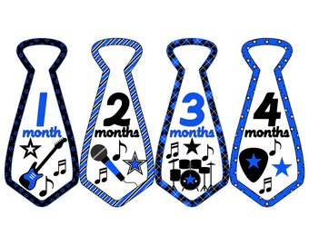 Monthly Boy Tie Stickers, Monthly Bodysuit Stickers, Monthly Stickers, Baby Month Stickers, Monthly Milestone Stickers, Music (BF015)