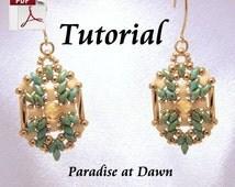Beading Tutorial Superduo & Half Tila (Paradise at Dawn) Earrings (E0146)