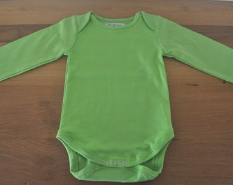 LIME GREEN - Solid color baby bio cotton bodysuits