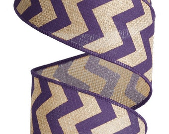 """Chevron Faux Burlap Wired Ribbon - Large Print - 2.5"""" x 10 yards choose your color"""