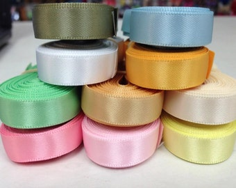 "3/8"" x 50 yard Double Face Satin Assortment 5 yards of each 10 colors. ""Assortment #1"""
