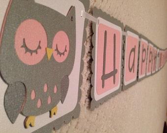 OWL Birthday Banner You Choose Theme