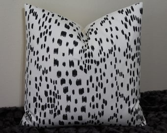 """Les Touches Brunschwig and Fils Print in """"Black on Ivory"""" -Lumbar Sizes or 16"""",18"""" and 20"""" Square -Decorative Designer Pillow Cover"""