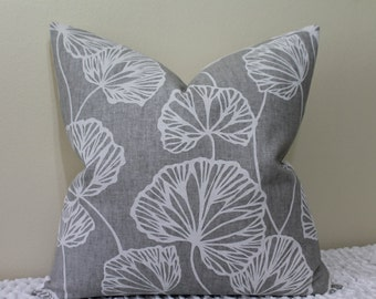 """Thom Filicia for Kravet - BOTH SIDES or Front Only -  Floral Sandy Pond in Smoke- 18"""", 20"""", 22"""" or 24"""" Square Decorative Pillow Cover"""