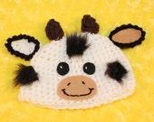 Newborn 0-3  3-6 or 6-12 baby cow crochet hat  Newborn photo props photography
