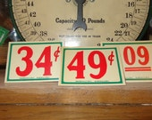 For a General Store Vignette, 3 Tags  PLETHORA of Ideas, Vintage 1930s-40s NOS Lg Store Red Green Price Tags Table Numbers Fun Gift Tags
