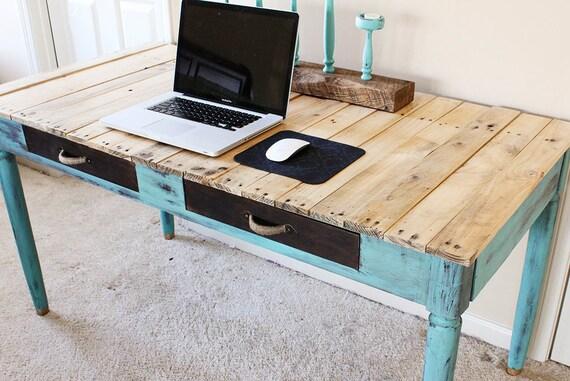 Rustic Reclaimed Wood Teal Desk Vintage by YonderYearsShop