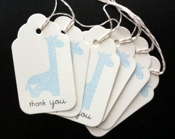 Thank You Tags - Blue Giraffe (set of 6) - Hand Stamped