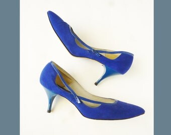 """1950's Rockabilly - Atomic """"Jewel Tone"""" Blue Suede Pointy Heels / Pumps / Shoes"""