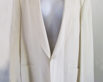 1940s  Hollywood Ivory Man's Tux Jacket - stage - M, long