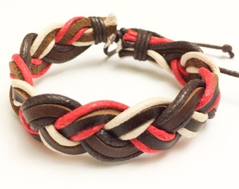 Red and White braided hemp cord with Brown Leather Bracelet
