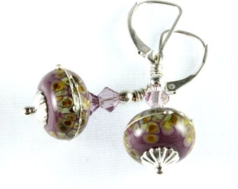 Grape Seed Lampwork Earrings, Swarovski Crystals, Sterling Silver