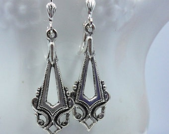 Silver Filigree  Earrings Spear Art Deco  bridal bridesmaids long estate old hollywood