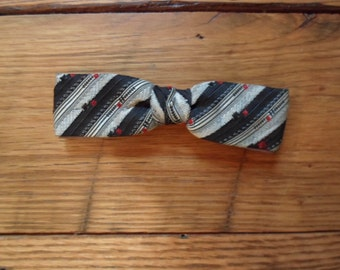Vintage Bow tie clip on black white and red stripes